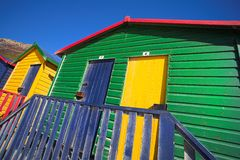 Muizenberg beach #2. Multi-colored dressing rooms on the beach at Surfers Corner, Muizenberg, South Africa Stock Image