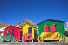 Muizenberg beach #4. Multi-colored dressing rooms on the beach at Surfers Corner, Muizenberg, South Africa Royalty Free Stock Photography