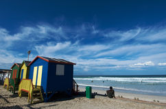 Muizenberg Beach colors. Primary colors of bathing boxes on muizenberg Beachfront near Cape Town Stock Photography