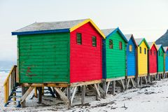 Muizenberg beach. Famous colorful huts of Muizenberg beach near Cape Town in South Africa Royalty Free Stock Photography