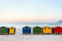 Muizenberg beach. Famous colorful huts of Muizenberg beach near Cape Town in South Africa Stock Image
