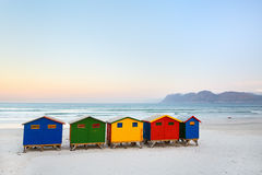 Muizenberg beach. Famous colorful huts of Muizenberg beach near Cape Town in South Africa Stock Images
