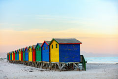Muizenberg beach. Famous colorful huts of Muizenberg beach near Cape Town in South Africa Stock Photo