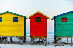 Muizenberg beach. Famous colorful huts of Muizenberg beach near Cape Town in South Africa Royalty Free Stock Photos