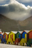 Muizenburg huts. The beach huts in muizenburg Cape town stock photos