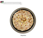 Mujaddara or Palestinian Rice and Lentils with Crispy Onions Royalty Free Stock Photography