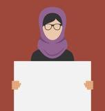 Mujer árabe que sostiene una bandera horizontal en blanco libre illustration