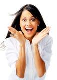 Mujer étnica emocionada Foto de archivo libre de regalías