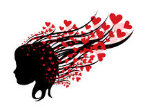 Mujer abstracta con los corazones Imagen de archivo