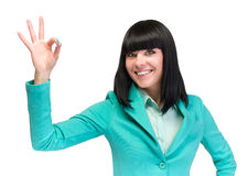 Mujer ACEPTABLE de la muestra Empresaria que muestra la muestra aceptable de la mano Mujer de negocios caucásica acertada y hermo Foto de archivo libre de regalías