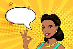 Mujer aceptable del arte pop del vector stock de ilustración