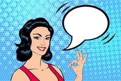 Mujer aceptable del arte pop del vector libre illustration