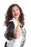 Mujer acertada con el pulgar para arriba Foto de archivo