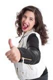 Mujer acertada con el pulgar para arriba Imagen de archivo libre de regalías
