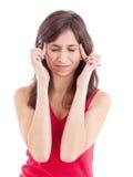 Mujer adolescente con dolor de cabeza Imágenes de archivo libres de regalías
