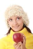 Mujer adolescente con la manzana roja Imagen de archivo libre de regalías