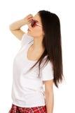 Mujer adolescente con las gafas de sol Imagenes de archivo