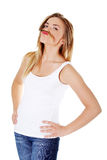Mujer adolescente con un bigote Fotografía de archivo