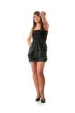 Mujer adolescente en alineada elegante negra Fotografía de archivo libre de regalías
