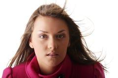 Mujer adolescente en capa femenina rosada Fotografía de archivo libre de regalías