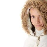 Mujer adolescente en chaqueta del invierno Foto de archivo
