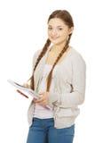 Mujer adolescente feliz con el cuaderno Fotografía de archivo