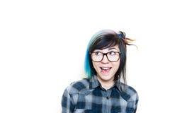 Mujer adolescente feliz que mira para arriba su derecha Imagen de archivo libre de regalías