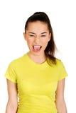 Mujer adolescente frustrada que grita Foto de archivo libre de regalías