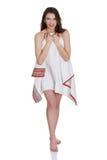 Mujer adolescente hermosa joven con la toalla Imagen de archivo libre de regalías