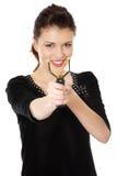 Mujer adolescente joven feliz con la catapulta Fotografía de archivo libre de regalías