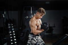 Mujer adulta joven que se resuelve en el gimnasio, haciendo rizos del bíceps con ayuda de su instructor personal imagenes de archivo