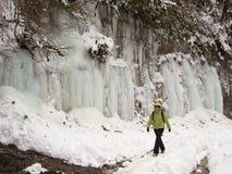 Mujer adulta que camina a lo largo de una trayectoria de la montaña Imagen de archivo