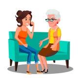 Mujer adulta que habla con su madre madura en el vector del sofá Ilustración aislada ilustración del vector