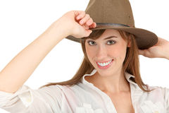 Mujer adventurera con el sombrero de ala imagenes de archivo