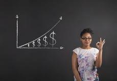 Mujer africana con la señal de mano perfecta con un gráfico cada vez mayor del dinero en fondo de la pizarra Fotos de archivo