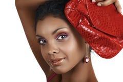 Mujer africana con sombreadores de ojos rosados imágenes de archivo libres de regalías