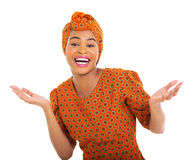 Mujer africana emocionada Foto de archivo libre de regalías