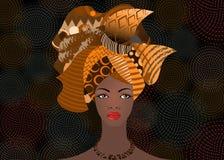 Mujer africana hermosa del retrato en el turbante tradicional, abrigo africano, impresión tradicional del dashiki, vector de la c stock de ilustración
