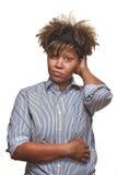 Mujer africana joven confusa Fotos de archivo