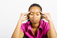 Mujer africana preocupante Imagen de archivo libre de regalías
