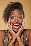 Mujer africana sorprendida Fotografía de archivo