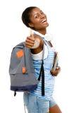 Mujer afroamericana acertada del estudiante que detiene los pulgares Fotos de archivo libres de regalías