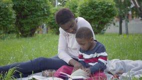 Mujer afroamericana atractiva del retrato que se sienta en la manta con su peque?o hijo en el parque La madre joven metrajes