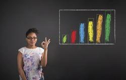 Mujer afroamericana con el gráfico de barra perfecto de la señal de mano en fondo de la pizarra Fotografía de archivo libre de regalías