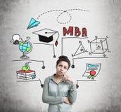 Mujer afroamericana confusa y educación de MBA imágenes de archivo libres de regalías