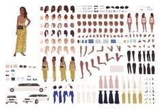 Mujer afroamericana en equipo del constructor del vestido de noche o generador de carácter Fije de las partes del cuerpo, ropa el libre illustration