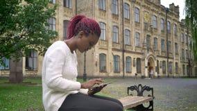 Mujer afroamericana joven en el suéter blanco que hojea en la tableta y que se sienta en banco en parque cerca de universidad metrajes