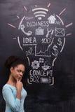 Mujer afroamericana pensativa con pintado Imagen de archivo libre de regalías