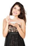 Mujer agradable con la taza de café fotos de archivo libres de regalías