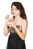 Mujer agradable con la taza de café imagen de archivo libre de regalías